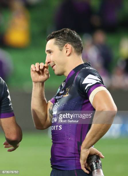 illy Slater of the Melbourne Storm looks on after the round eight NRL match between the Melbourne Storm and the New Zealand Warriors at AAMI Park on...