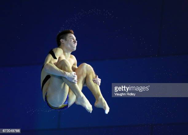 Illya Kvasha of Ukraine competes in the Men's 3m Semifinal B during the 2017 FINA Diving World Series at the Windsor International Aquatic and...
