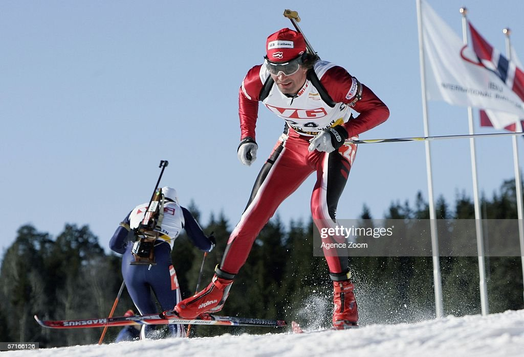 Ilmar Bricis of Latvia in action during the IBU Biathlon World Cup Men's 10km Sprint on March 23, 2006 in Holmenkollen, Norway.