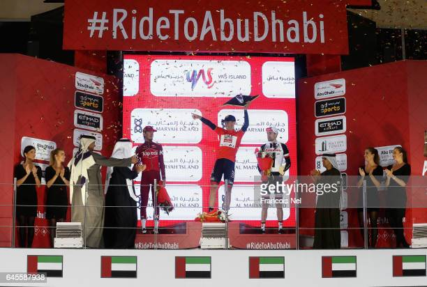 Ilnur Zakarin of Russia and Team Katusha Alpecin Rui Costa of Portugal and UAE Abu Dhabi and Tom Dumoulin of the Netherlands and Team Sunweb...