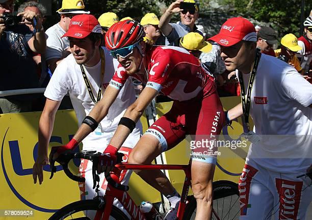 Ilnur Zakarin of Russia and Team Katusha celebrates winning stage 17 between Bern and FinhautEmosson on July 20 2016 in FinhautEmosson Switzerland