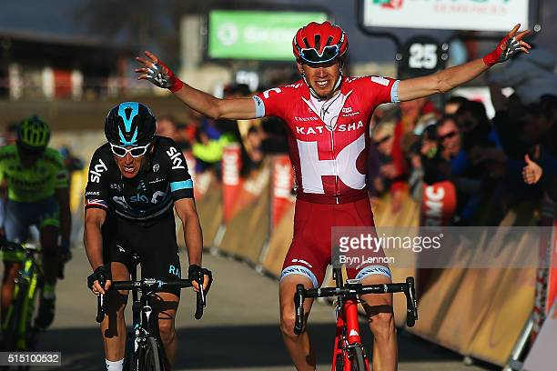 Ilnur Zakarin of Russia and Team Katusha crosses the line to win stage 6 of the 2016 ParisNice a 177km stage from Nice to La Madone d'Utelle on March...