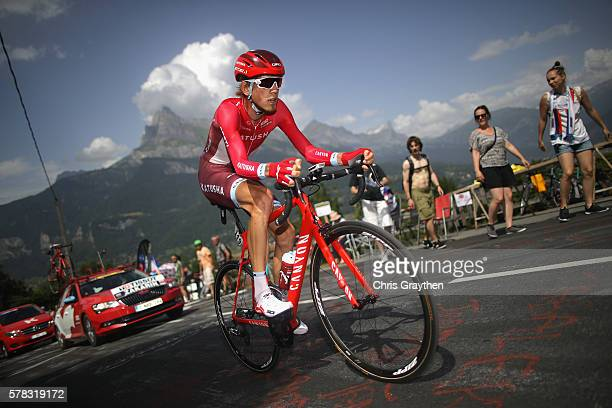 Ilnur Zakarin of Russia and Team Katusha in action during stage eighteen of the 2016 Le Tour de France from Sallanches to Megeve on July 21 2016 in...