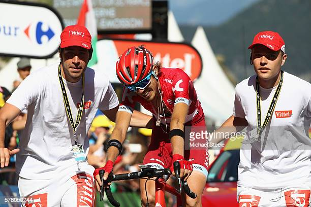 Ilnur Zakarin of Russia and Team Katusha is exhausted after winning the 1845km stage seventeen of Le Tour de France from Berne to FinhautEmosson on...