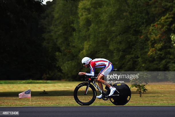 Ilnur Zakarin of Russia in action during the Elite Men Time Trial on day five of the UCI Road World Championships on September 23 2015 in Richmond...