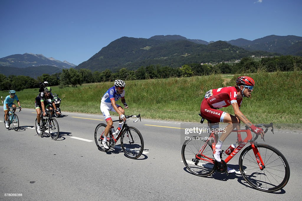 Ilnur Zakarin of Russian riding for Team Katusha rides in the breakaway during stage seventeen of the 2016 Le Tour de France, a 184.5km stage from Berne to Finhaut-Emosson on July 20, 2016 in Finhaut-Emosson, Switzerland.