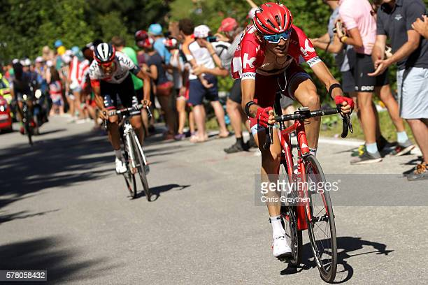 Ilnur Zakarin of Russian riding for Team Katusha rides up the final climb during stage seventeen of the 2016 Le Tour de France a 1845km stage from...