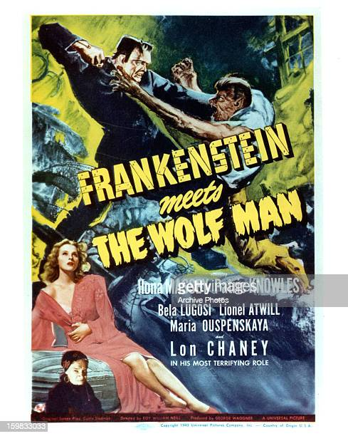 Ilona Massey Bela Lugosi Lon Chaney Jr in movie art for the film 'Frankenstein Meets The Wolf Man' 1943