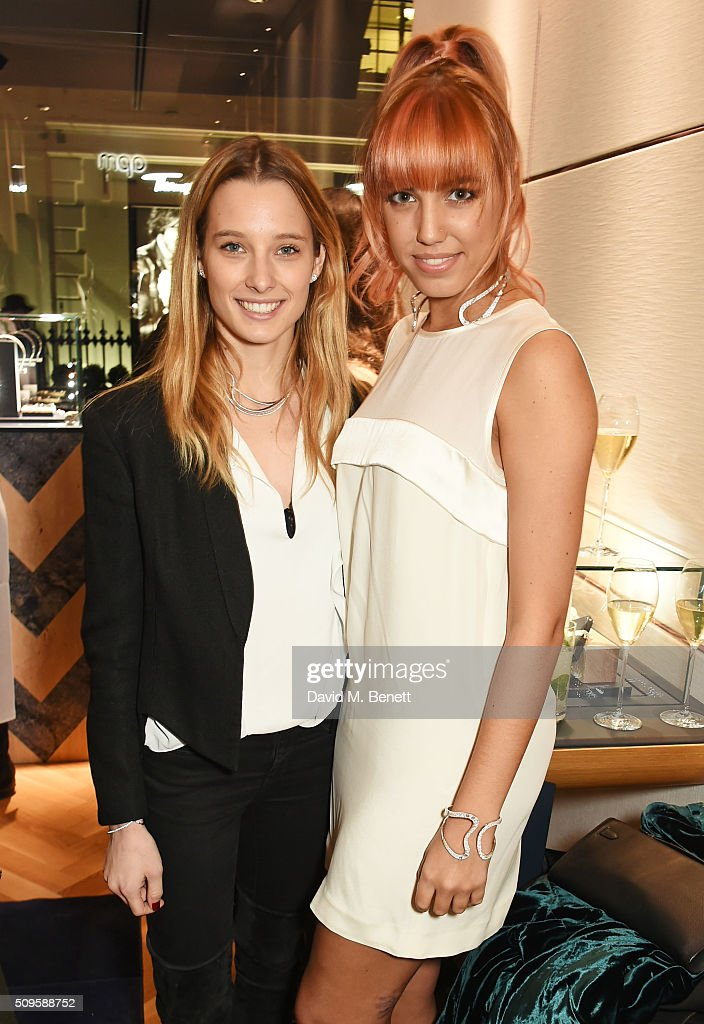 Ilona Smet (L) and <a gi-track='captionPersonalityLinkClicked' href=/galleries/search?phrase=Amber+Le+Bon&family=editorial&specificpeople=1103030 ng-click='$event.stopPropagation()'>Amber Le Bon</a> attend the APM Monaco flagship store opening on South Molton Street on February 11, 2016 in London, England.
