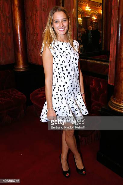Ilona Smet attends her Grandmother Sylvie Vartan triumphs in the Theater Play 'Ne me regardez pas comme ca ' performed at 'Theatre Des Varietes' on...