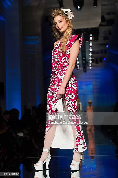 Ilona Smet walks the runway during the Jean Paul Gaultier Spring Summer 2017 show as part of Paris Fashion Week on January 25 2017 in Paris France