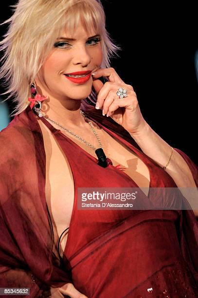 Ilona Staller appears on the television show 'Chiambretti Night' at Italia 1 Studios on March 10 2009 in Milan Italy