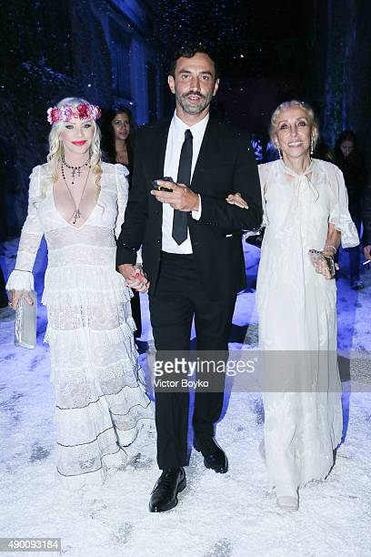 Ilona Staller Riccardo Tisci Carla Sozzani attends the Givenchy #GRTmilano17 Party during the Milan Fashion Week Spring/Summer 2016 on September 25...