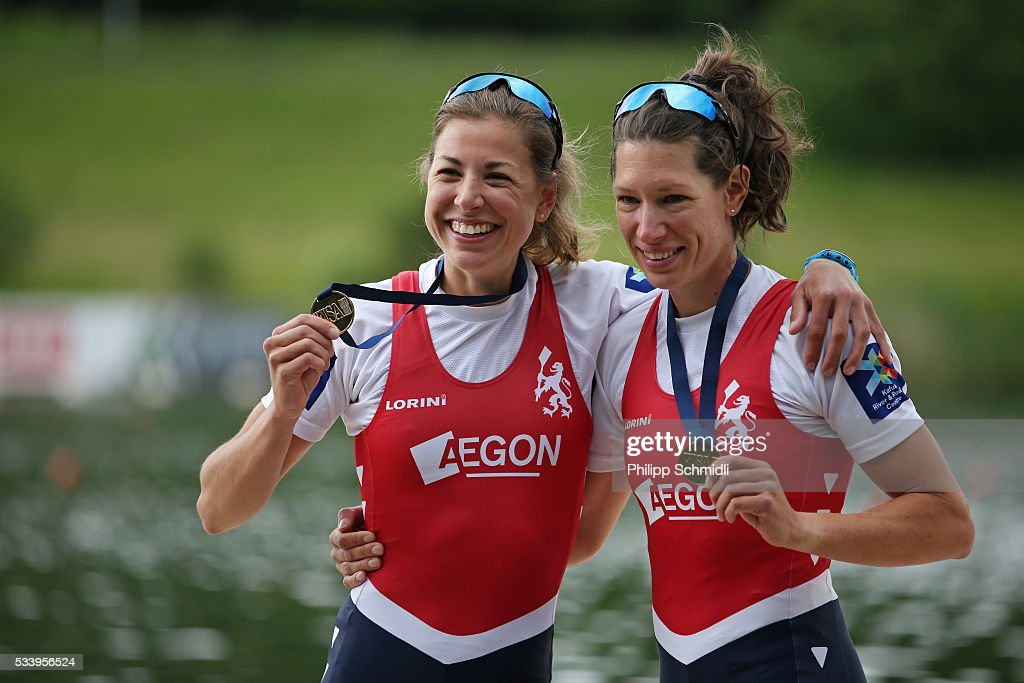 Ilse Paulis (L) and Maaike Head of the Netherlands celebrate after qualifying for the 2016 Summer Olympic Games in Rio during Day 3 of the 2016 FISA European And Final Olympic Qualification Regatta at Rotsee on May 24, 2016 in Lucerne, Switzerland.