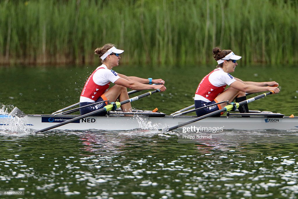 Ilse Paulis (L) and Maaike Head of the Netherlands row to victory in the Lightweight Women's Double Sculls final during Day 3 of the 2016 FISA European And Final Olympic Qualification Regatta at Rotsee on May 24, 2016 in Lucerne, Switzerland.