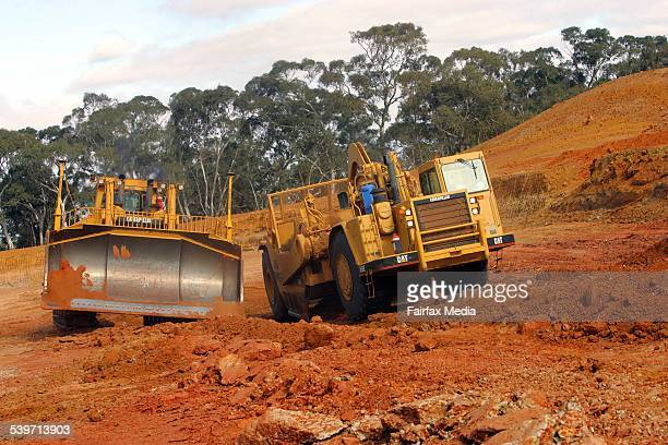 Iluka sand mining Earth moving equipment strips away the ore body of mineral sand at the Doulas mine site south of Horsham Victoria 16 May 2005 AFR...