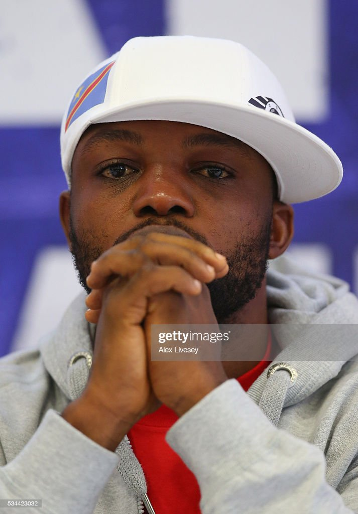 Ilunga Makabu faces the media during a press conference ahead of his fight with Tony Bellew at the Royal Liver Building on May 26, 2016 in Liverpool, England.