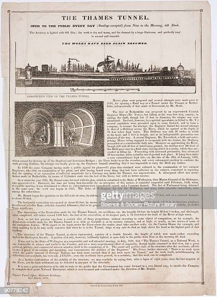 Ilustrated article encouraging readers to visit the construction site of the Thames Tunnel The illustrations show a longitudinal section of the route...