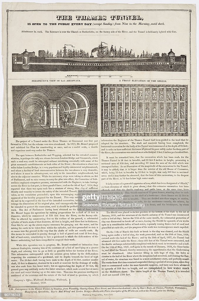 Ilustrated article encouraging readers to visit the construction site of the Thames Tunnel The illustrations show a transverse section of the route...