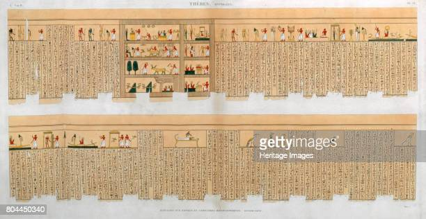 Ilustrations of a manuscript with hieroglyphics from a tomb at Thebes Egypt 1822 Plate 75 from Vol II of Descriptions of Egypt Artist Willemin