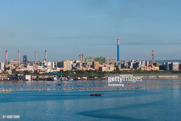 Ilva Industry operates in the center of the city on March 10 2016 in Taranto Apulia Italy A national referendum on oil drilling brought about by...