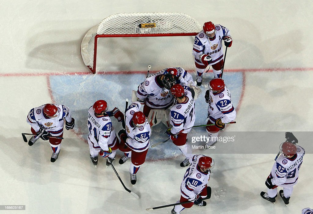 Ilya Bryzgalov (#30), goaltender of Russia celebrate with his team mates after the IIHF World Championship group H match between Slovakia and Russia at Hartwall Areena on May 12, 2013 in Helsinki, Finland.