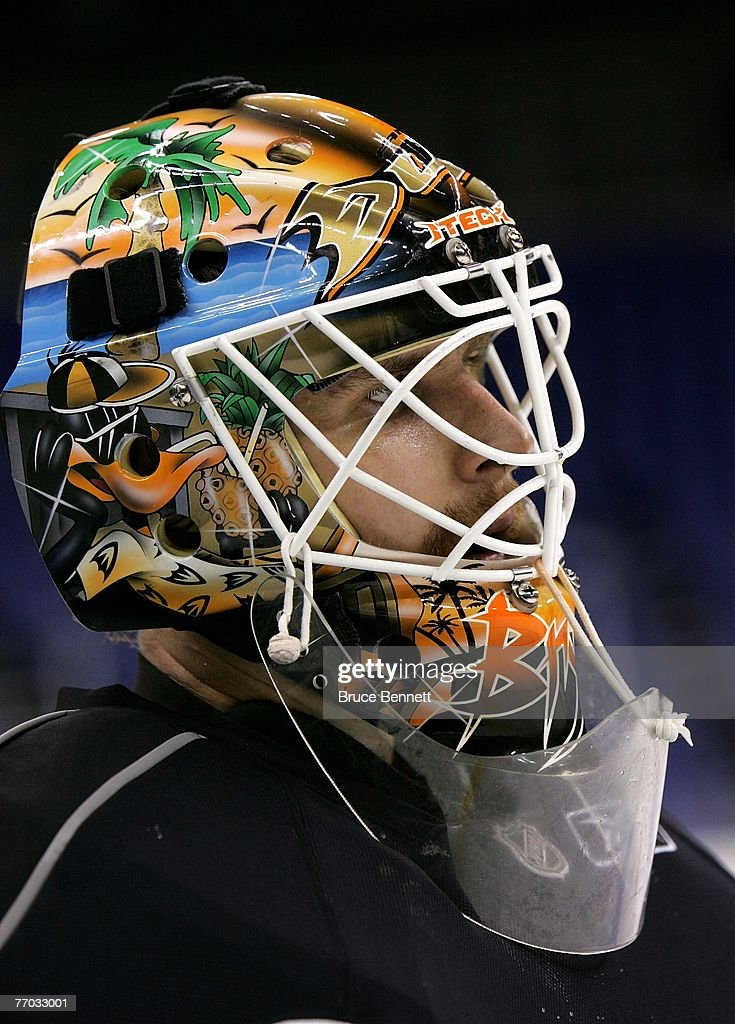 Ilya Bryzgalov #30 of the Anaheim Ducks watches practice on September 26, 2007 at the O2 arena in London, England.