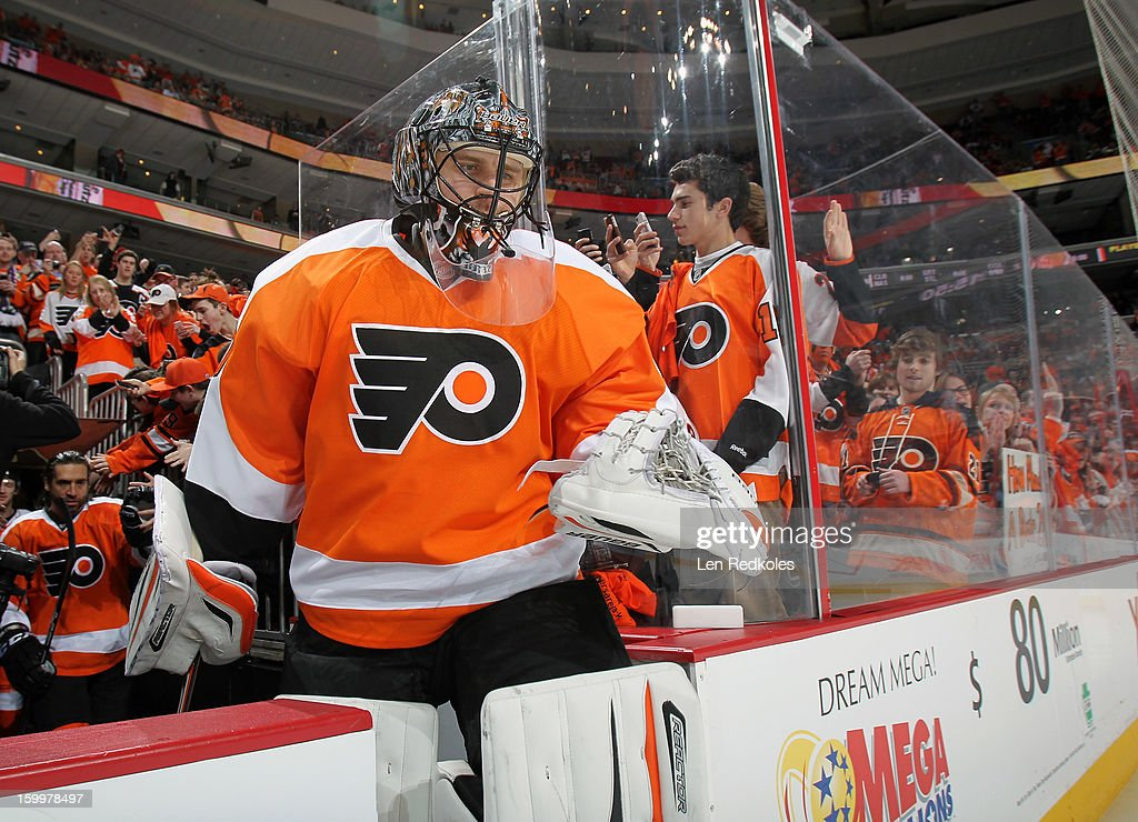 Ilya Bryzgalov #30 of the Philadelphia Flyers enters the ice surface prior to his game against the Pittsburgh Penguins on January 19, 2013 at the Wells Fargo Center in Philadelphia, Pennsylvania.