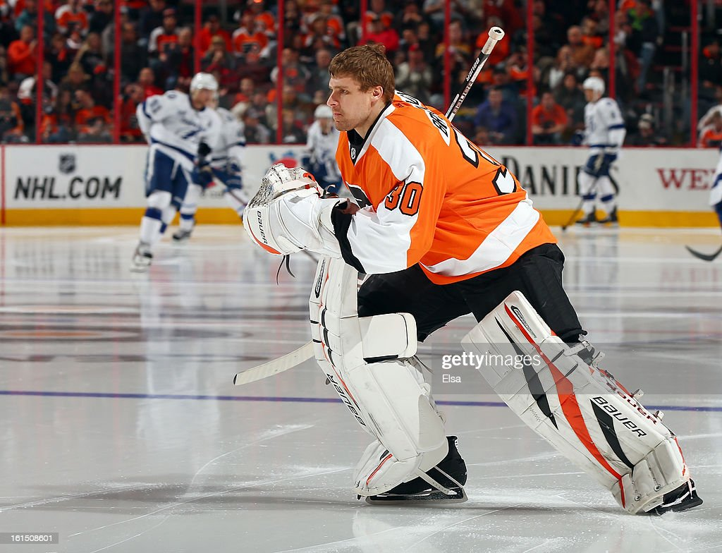 <a gi-track='captionPersonalityLinkClicked' href=/galleries/search?phrase=Ilya+Bryzgalov&family=editorial&specificpeople=2285430 ng-click='$event.stopPropagation()'>Ilya Bryzgalov</a> #30 of the Philadelphia Flyers heads for the net before the game against the Tampa Bay Lightning on February 5, 2013 at the Wells Fargo Center in Philadelphia, Pennsylvania.