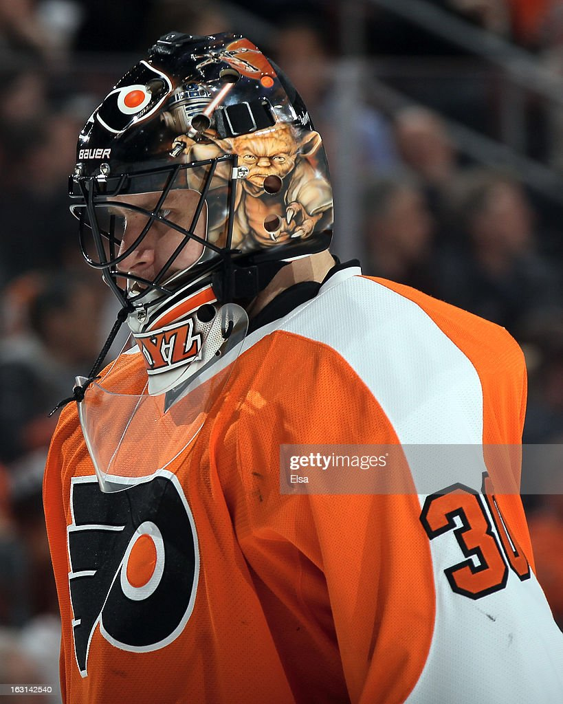 <a gi-track='captionPersonalityLinkClicked' href=/galleries/search?phrase=Ilya+Bryzgalov&family=editorial&specificpeople=2285430 ng-click='$event.stopPropagation()'>Ilya Bryzgalov</a> #30 of the Philadelphia Flyers looks on during the first period against the Washington Capitals on February 27, 2013 at the Wells Fargo Center in Philadelphia, Pennsylvania.