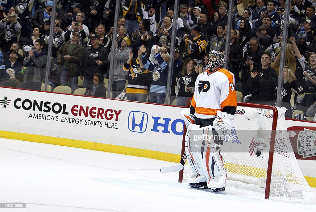 Ilya Bryzgalov #30 of the Philadelphia Flyers reacts after being scored on in the first period against the Pittsburgh Penguins during the game at Consol Energy Center on February 20, 2013 in Pittsburgh, Pennsylvania.