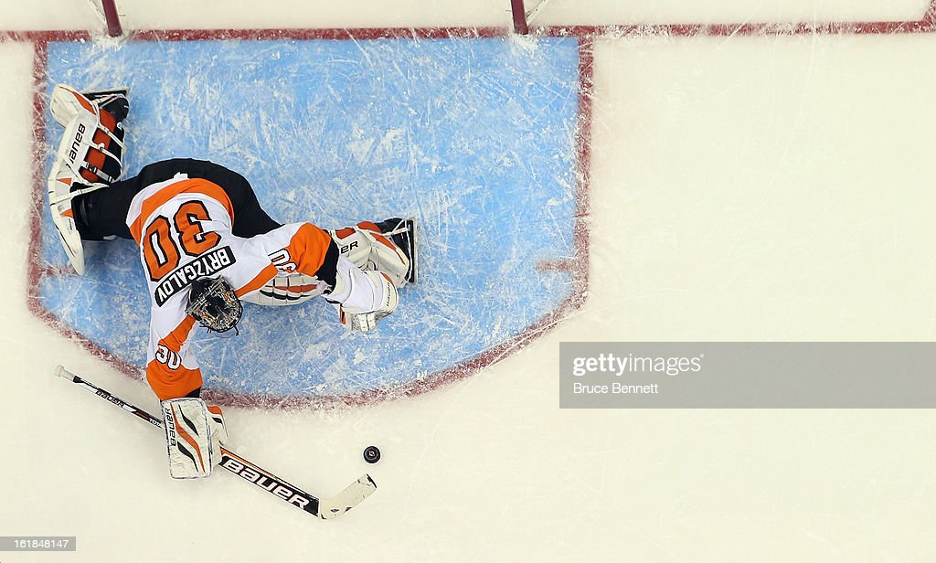 <a gi-track='captionPersonalityLinkClicked' href=/galleries/search?phrase=Ilya+Bryzgalov&family=editorial&specificpeople=2285430 ng-click='$event.stopPropagation()'>Ilya Bryzgalov</a> #30 of the Philadelphia Flyers skates against the New Jersey Devils at the Prudential Center on February 15, 2013 in Newark, New Jersey.The Devils defeated the Flyers 5-3.