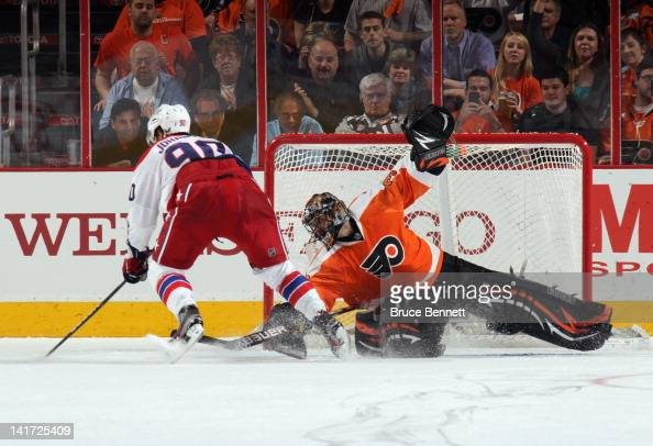 Ilya Bryzgalov of the Philadelphia Flyers stops Marcus Johansson of the Washington Capitals on a second period penalty shot at the Wells Fargo Center...