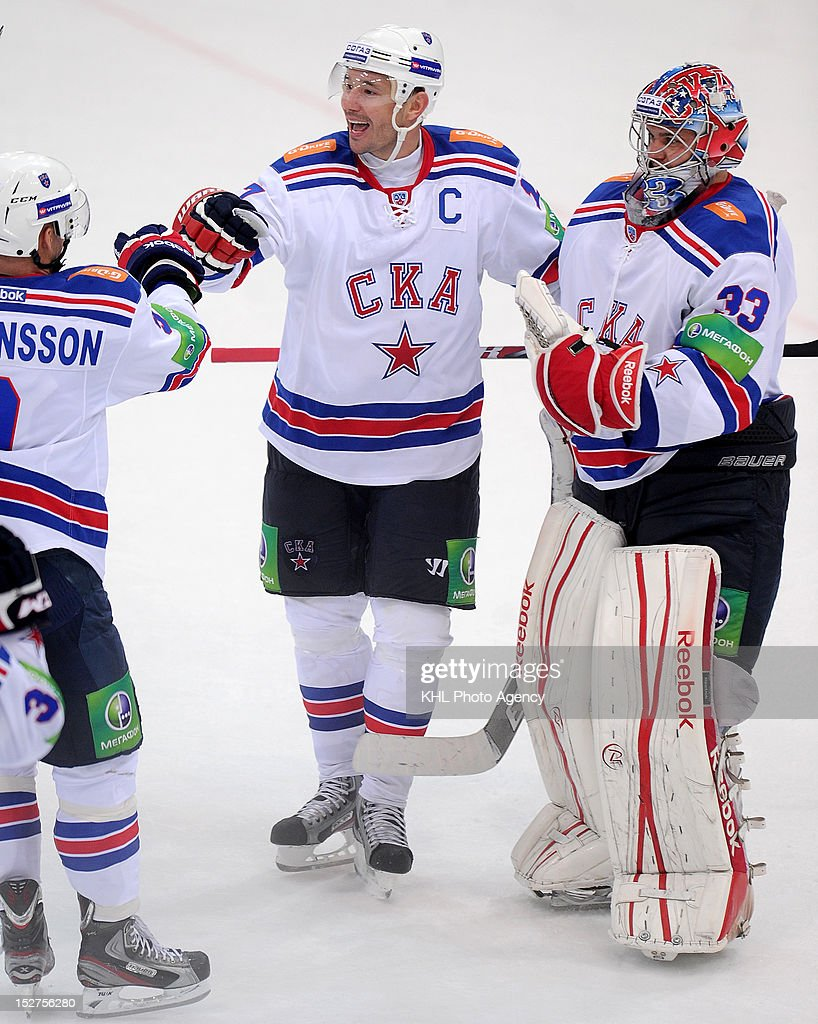 Ilya Kovalchuk #17 celebrates victory with his teammates after the game between SKA Saint Petersburg and Dynamo Moscow during the KHL Championship 2012/13 on September 23, 2012 at the Arena Luzhniki in Moscow, Russia. The SKA won 3-1.