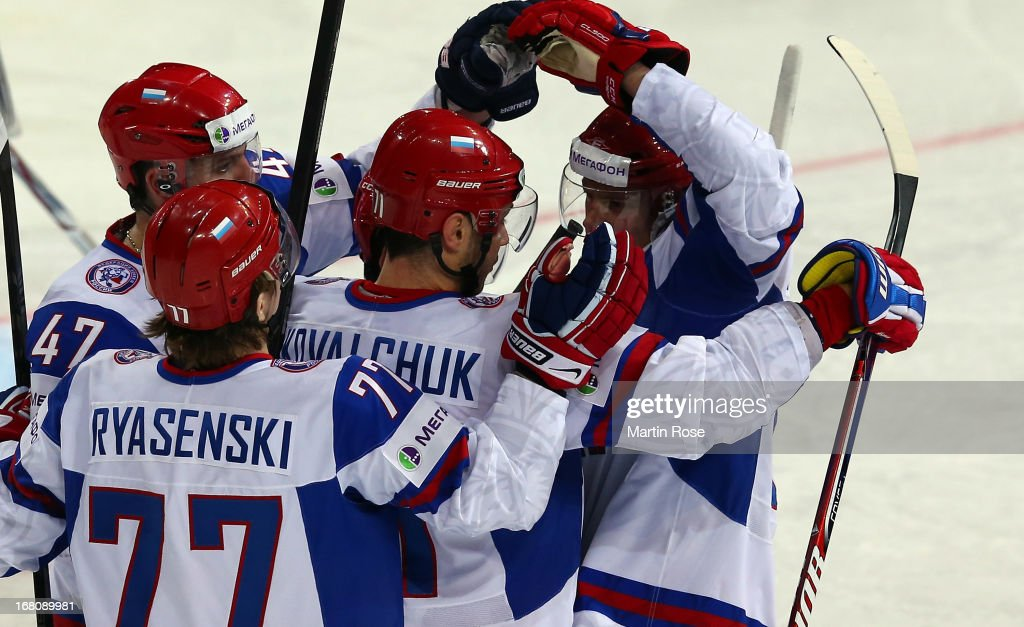 Ilya Kovalchuk (C) of Russia celebrate with his team mates after he scores his team's opening goal the IIHF World Championship group H match between Germany and Russia at Hartwall Areena on May 5, 2013 in Helsinki, Finland.