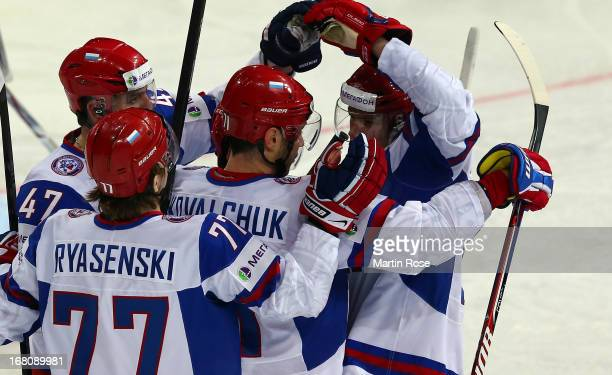 Ilya Kovalchuk of Russia celebrate with his team mates after he scores his team's opening goal the IIHF World Championship group H match between...
