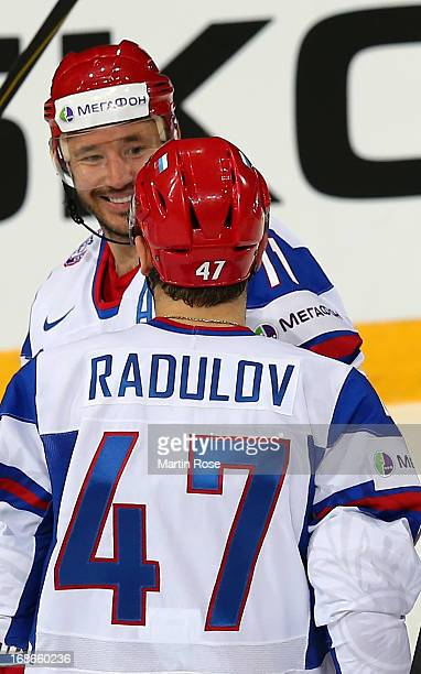 Ilya Kovalchuk of Russia celebrate with team mate Alexander Radulov after he scores his team's 2nd goal ring the IIHF World Championship group H...