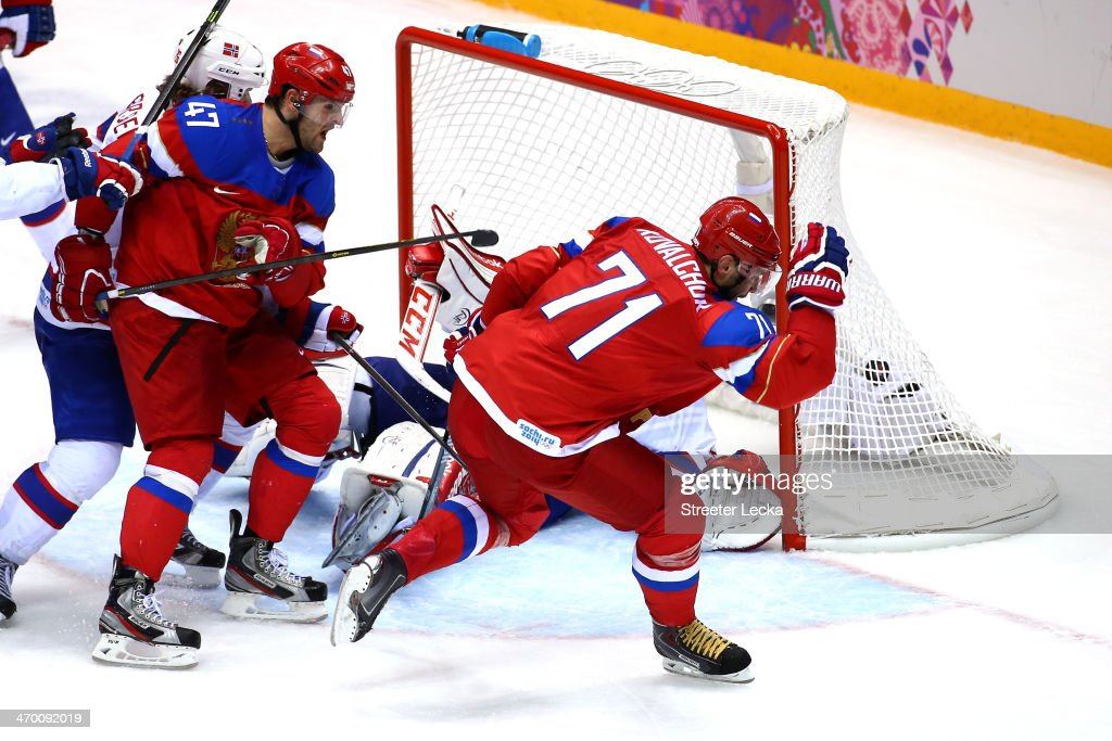 <a gi-track='captionPersonalityLinkClicked' href=/galleries/search?phrase=Ilya+Kovalchuk&family=editorial&specificpeople=201796 ng-click='$event.stopPropagation()'>Ilya Kovalchuk</a> #71 of Russia celebrates after scoring a goal in the second period against <a gi-track='captionPersonalityLinkClicked' href=/galleries/search?phrase=Lars+Haugen&family=editorial&specificpeople=7718894 ng-click='$event.stopPropagation()'>Lars Haugen</a> #30 of Norway during the Men's Ice Hockey Qualification Playoff game on day eleven of the Sochi 2014 Winter Olympics at Bolshoy Ice Dome on February 18, 2014 in Sochi, Russia.