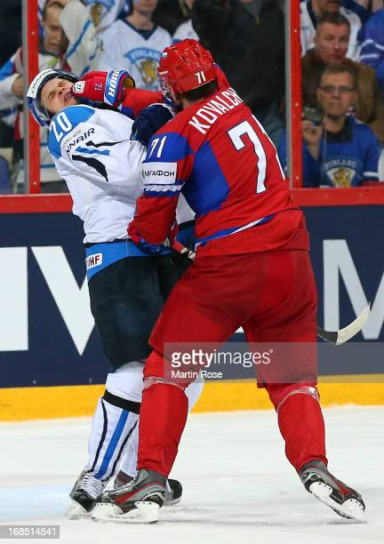 Ilya Kovalchuk of Russia hits Janne Pesonen of Finland during the IIHF World Championship group H match between Russia and Finland at Hartwall Areena...