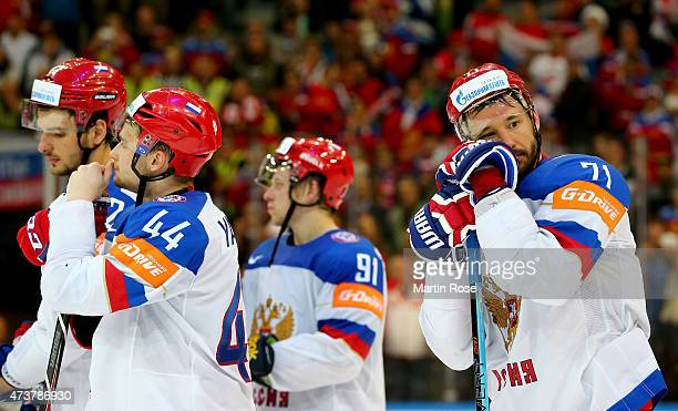 Ilya Kovalchuk of Russia looks dejected after losing the IIHF World Championship gold medal match between Canada and Russia at O2 Arena on May 17...
