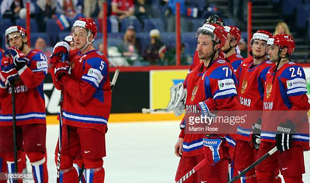 Ilya Kovalchuk of Russia looks dejected after the IIHF World Championship group H match between Russia and France at Hartwall Areena on May 9 2013 in...