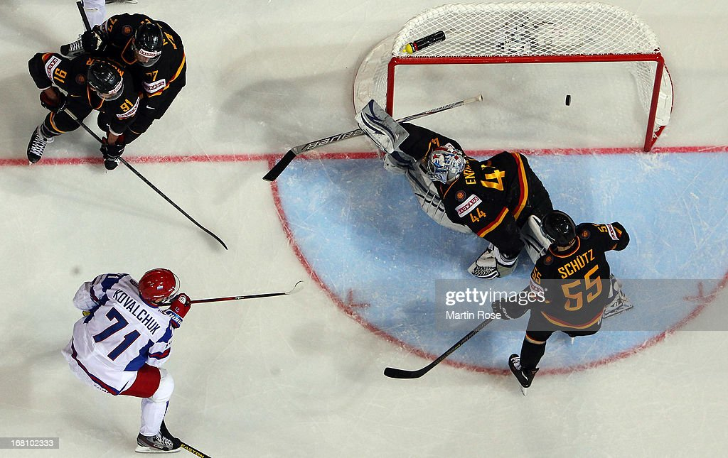 Ilya Kovalchuk (#71) of Russia scores his team's 1st goal during the IIHF World Championship group H match between Germany and Russia at Hartwall Areena on May 5, 2013 in Helsinki, Finland.
