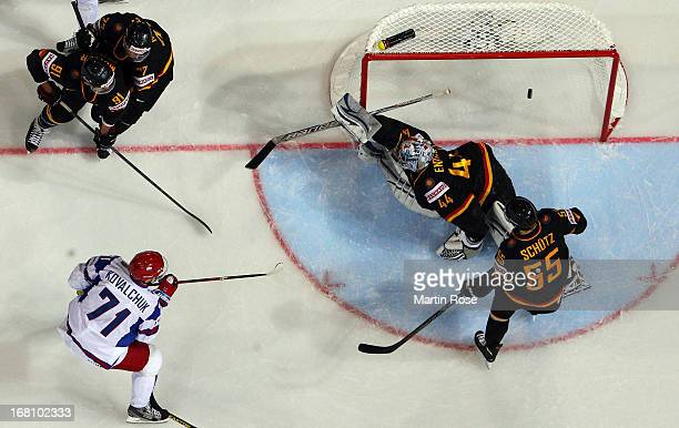 Ilya Kovalchuk of Russia scores his team's 1st goal during the IIHF World Championship group H match between Germany and Russia at Hartwall Areena on...
