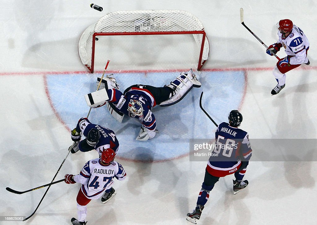 Ilya Kovalchuk (#71) of Russia scores his team's 2nd goal during the IIHF World Championship group H match between Slovakia and Russia at Hartwall Areena on May 12, 2013 in Helsinki, Finland.
