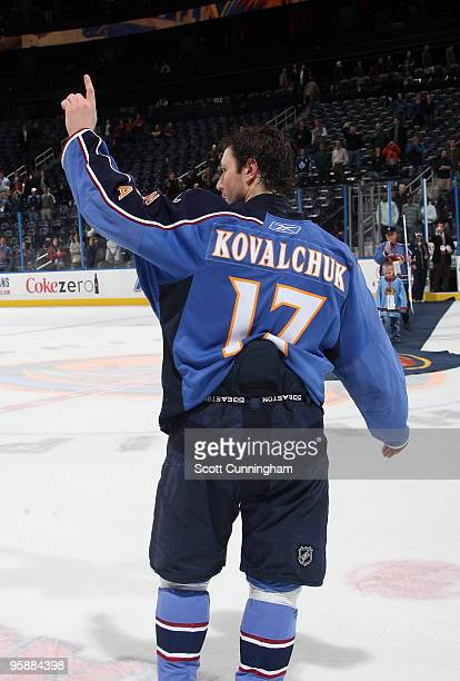 Ilya Kovalchuk of the Atlanta Thrashers acknowledges the crowd after being named 1st star of the game against the Toronto Maple Leafs at Philips...