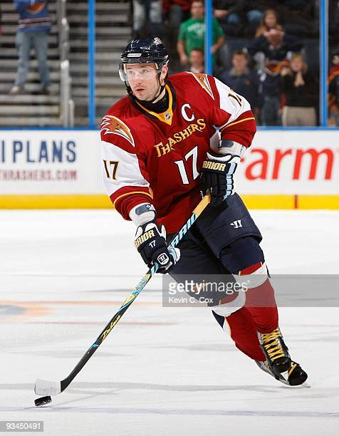 Ilya Kovalchuk of the Atlanta Thrashers against the Boston Bruins at Philips Arena on November 19 2009 in Atlanta Georgia
