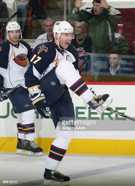 Ilya Kovalchuk of the Atlanta Thrashers celebrates his third period goal during an NHL game against the Carolina Hurricanes on January 16 2010 at RBC...