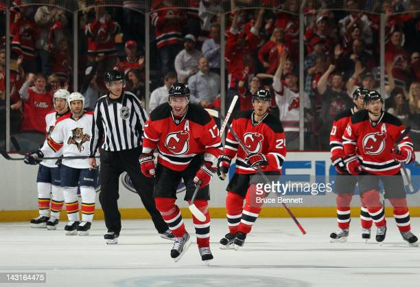 Ilya Kovalchuk of the New Jersey Devils celebrates his powerplay goal at 832 of the third period against the Florida Panthers in Game Four of the...