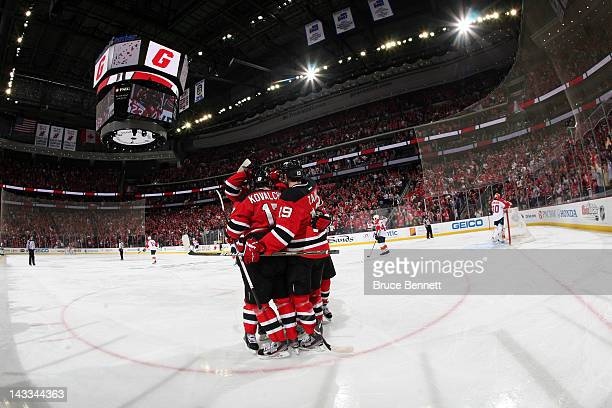 Ilya Kovalchuk of the New Jersey Devils celebrates with his teammates after he scored a second period goal against the Florida Panthers in Game Six...