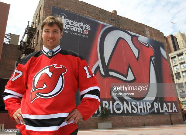 Ilya Kovalchuk of the New Jersey Devils poses for photographs following the media opportunity announcing his contract renewal at the Prudential...